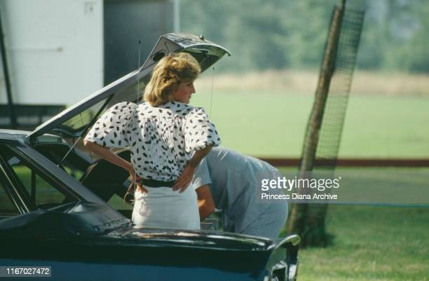 Diana, Princess of Wales attends a polo match in Cirencester, August 1983.