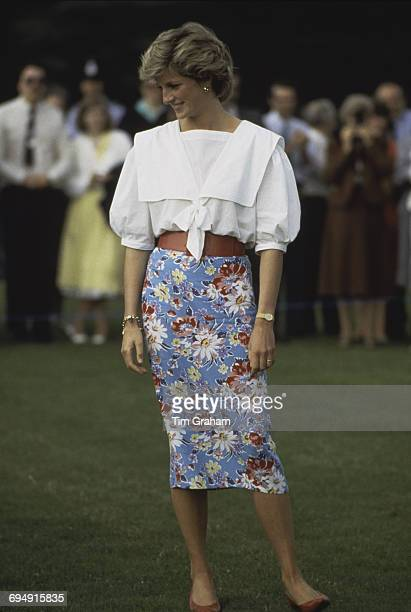 Diana, Princess of Wales attends a polo match in Cirencester, UK, 30th June 1985.