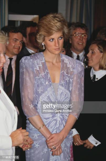 Diana Princess of Wales attends a reception at the British Consulate in Dubai in the United Arab Emirates March 1989 She is wearing a cocktail dress...