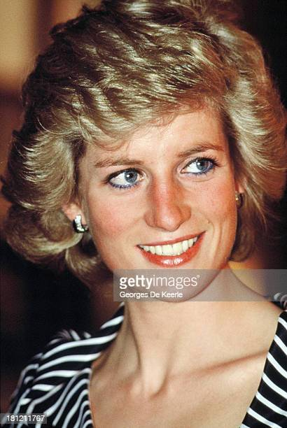 Diana Princess of Wales attends a reception at the British Embassy during her official tour of the Gulf States on March 1989 in Abu Dhabi United Arab...