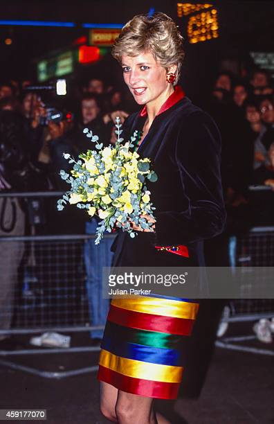 Diana Princess of Wales attends a Rock Concert by The Chicken Shed Theatre Company in London's West End on November 28 1991 in London United Kingdom