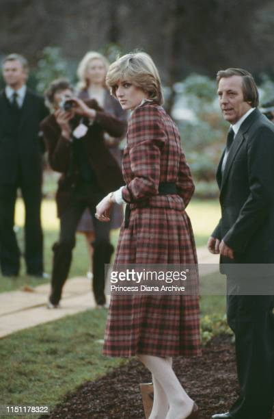 Diana Princess of Wales attends a treeplanting ceremony in Hyde Park London November 1982 She is wearing a dress by Caroline Charles