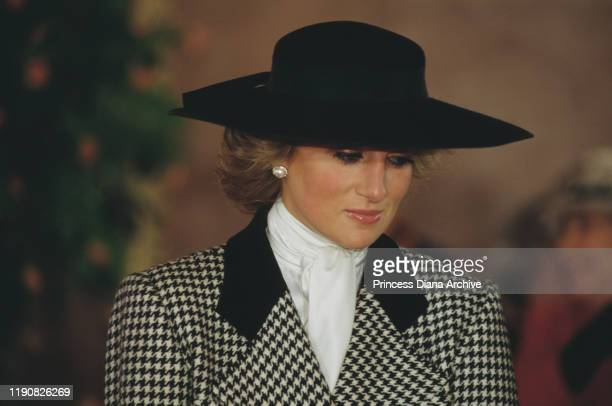 Diana, Princess of Wales attends a welcome ceremony at the Neues Rathaus or New Town Hall in Munich, Germany, November 1987.