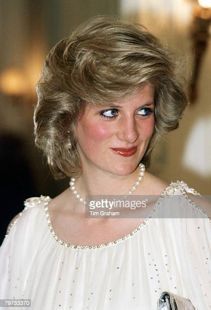 Diana Princess of Wales attends an opera to hear Luciano Pavarotti perform