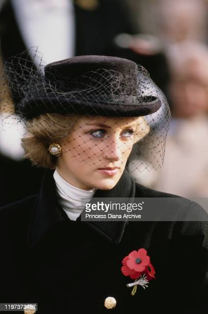 Diana, Princess of Wales attends the Armistice Day wreath-laying ceremony at the Arc de Triomphe in Paris, France, 11th November 1988. She is wearing...