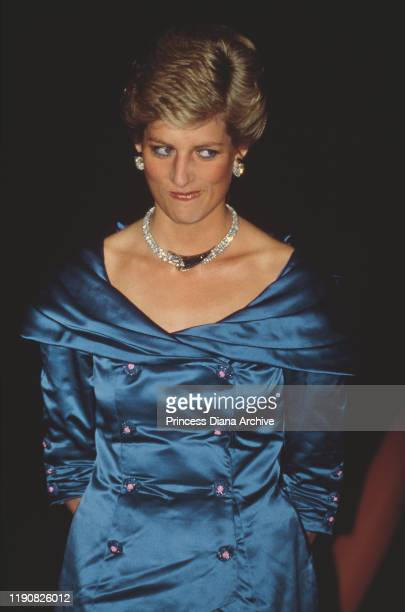 Diana, Princess of Wales attends the Bicentennial Fashion Show at the Sydney Opera House in Sydney, Australia, celebrating the Australian...