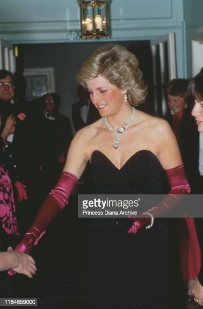 Diana, Princess of Wales attends the Black and Pink Ball at Claridge's Hotel in London, September 1987.