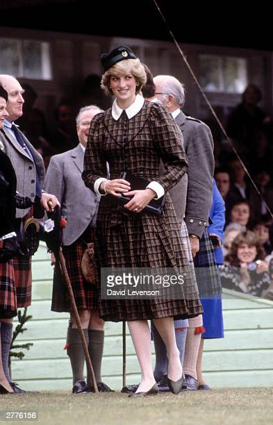 Diana Princess of Wales attends the Braemar Games on September 4 1982 at Braemar near Balmoral in Scotland The Princess wore a dress by Caroline...
