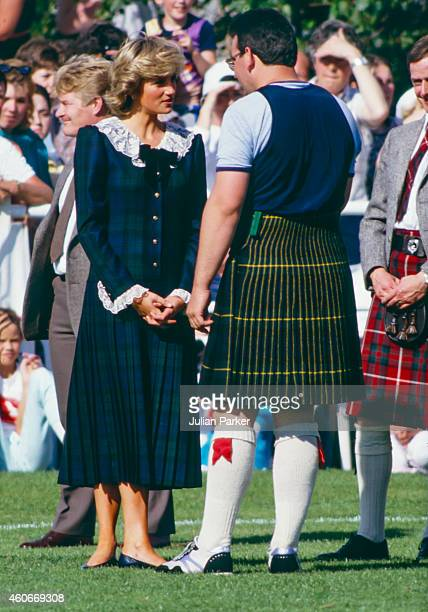 Diana Princess of Wales attends The Bute Highland Games on the Isle of Bute Scotland on August 22 in Bute Scotland