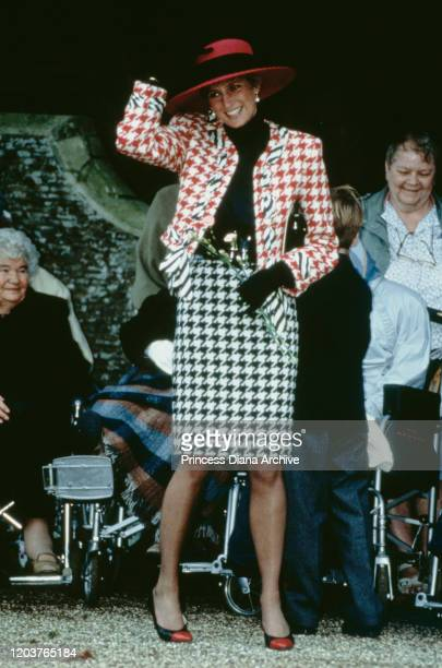 Diana, Princess of Wales attends the christening of Princess Eugenie at St Mary Magdalene Church in Sandringham, UK, 23rd December 1990. She is...