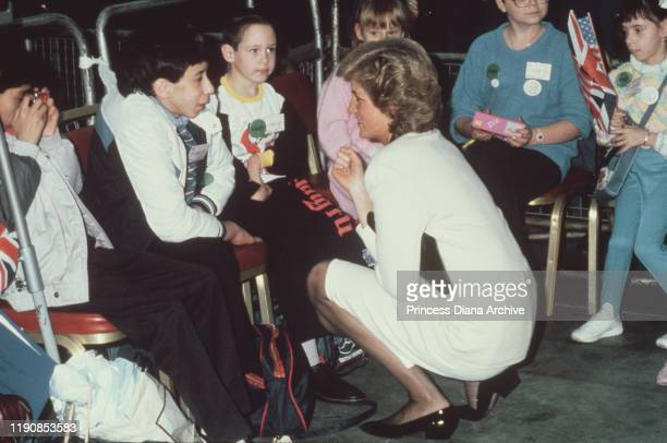 Diana Princess of Wales attends the departure of the Dreamflight charity's British Airways flight to Disney World from Heathrow Airport London 16th...