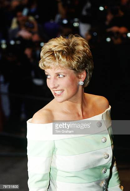 Diana Princess of Wales attends the film premiere of 'An Accidental Hero' in London Her dress is by fashion designer Catherine Walker