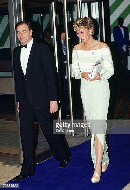 Diana Princess of Wales attends the film premiere of 'An Accidental Hero' in London Her dress is designed by fashion designer Catherine Walker