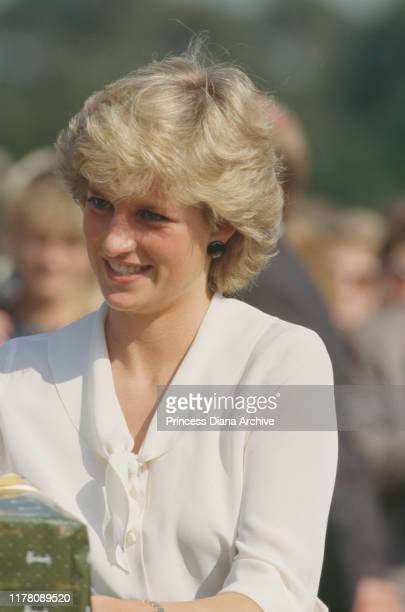 Diana, Princess of Wales attends the Harrods Polo Cup at Smith's Lawn in Windsor, UK, July 1987. She presented some of the prizes along with Harrods...