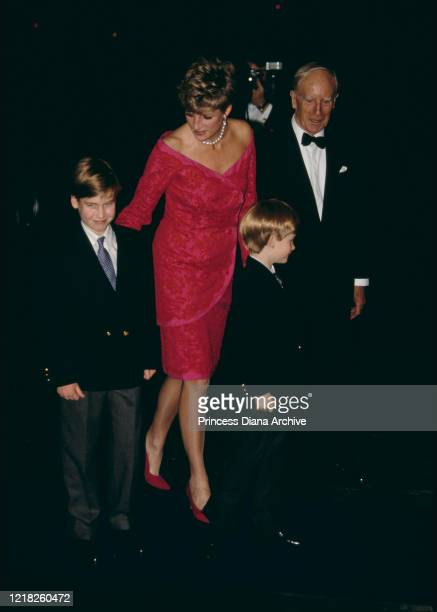Diana, Princess of Wales attends the 'Joy to the World' Christmas concert at the Royal Albert Hall in London, 17th December 1991. She is wearing a...