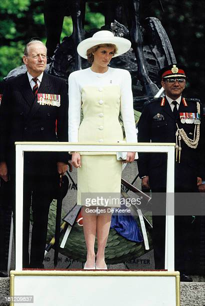Diana Princess of Wales attends the Old Comrades' Parade at the Cavalry Memorial in Hyde Park on May 14 1989 in London England