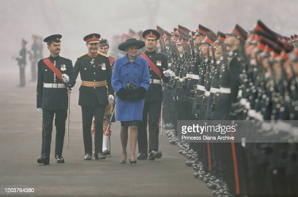 Diana Princess of Wales attends the passing out parade at the Royal Military Academy Sandhurst UK December 1990