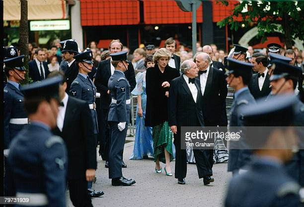 Diana Princess of Wales attends the premiere of 'Biggles'