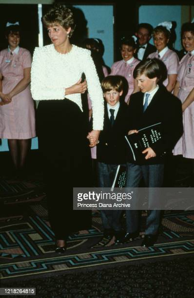 Diana, Princess of Wales attends the premiere of the film 'Hook' in London, UK, with her sons Prince William and Prince Harry, 7th April 1992.