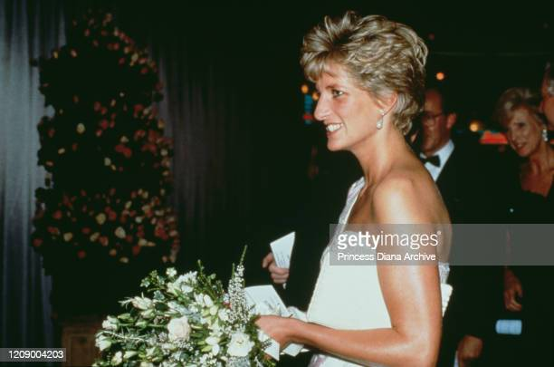 Diana Princess of Wales attends the premiere of the film 'Stepping Out' at the Empire Leicester Square in London 19th September 1991 She is wearing...