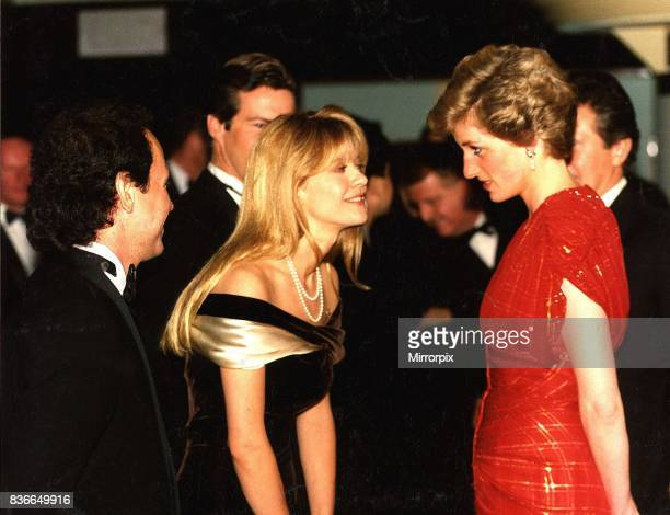 Diana Princess of Wales attends the Premiere of When Harry met Sally in London's West End The Princess wearing a Bruce Oldfield red chiffon dress...