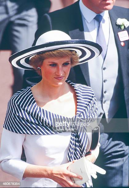 Diana Princess of Wales attends The Royal Ascot race meeting on June 14 1988 in Ascot United Kingdom