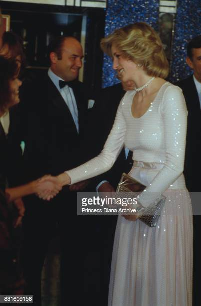 Diana Princess of Wales attends the royal premiere of 'Starlight Express' wearing a white sequin evening gown and silver clutch bag at the Apollo...