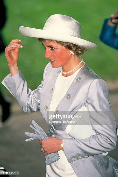 Diana Princess of Wales attends the wedding of James Ogilvy and Julia Rawlinson at St Mary The Virgin Church on July 30 1988 in Saffron Walden England