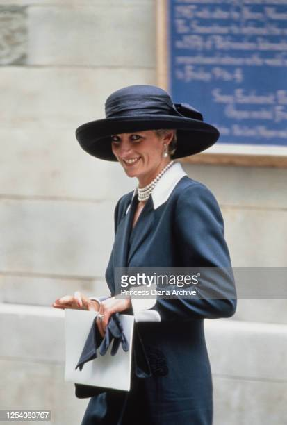 Diana, Princess of Wales attends the wedding of Lady Sarah Armstrong-Jones and Daniel Chatto at St Stephen Walbrook, in the City of London, 14th July...