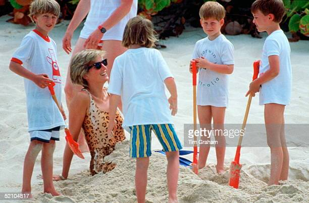 Diana Princess Of Wales Being Buried In The Sand By Her Sons Prince William And Prince Harry During A Holiday On Necker Island Princess Diana Is...