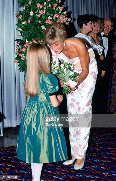 Diana Princess Of Wales Being Presented With A Bouquet Of Flowers On Her Arrival At The Film Premiere Of stepping Out To Raise Funds For The Charity...