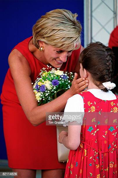 Diana, Princess Of Wales, Being Presented With A Bouquet Of Flowers On Her Visit To Northwick Park And St Mark's Hospital In Harrow To Lay The...