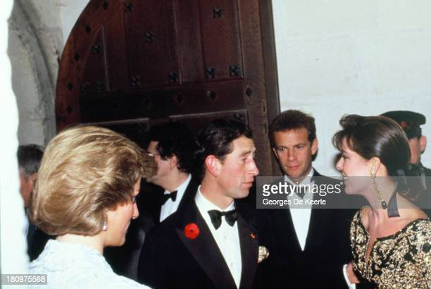 Diana Princess of Wales Charles Prince of Wales FrancoisMarie Banier and Princess Caroline of Monaco attend a dinner at the Chateau de Chambord...