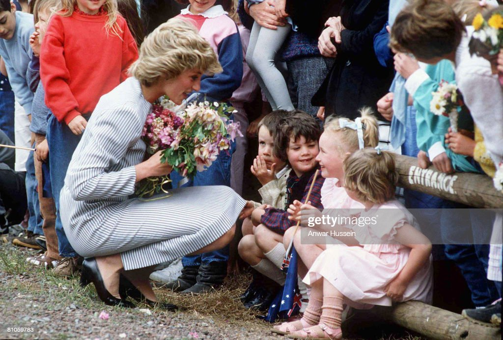 Diana, Princess of Wales chats to children during a walkabout at Macedon, Victoria, Australia, November 1985.