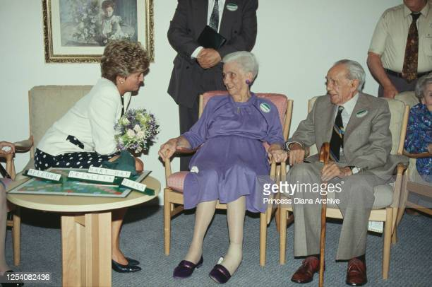 Diana, Princess of Wales chats to Mr and Mrs Williams at the Burges House nursing home in Cardiff, Wales, 30th June 1993. She is opening the...