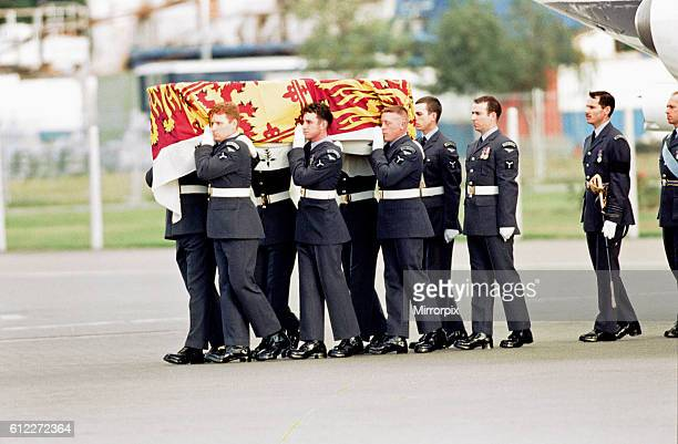 Diana Princess of Wales Coffin arrives at RAF Northolt South Ruislip from Villacoublay airfield France Sunday 31st August 1997 The Queen's Colour...