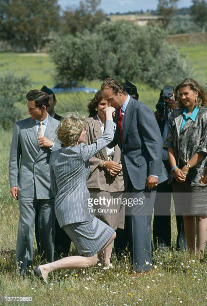 Diana Princess of Wales curtseys to King Juan Carlos of Spain who kisses her hand as she and Prince Charles leave Toledo after an official visit to...