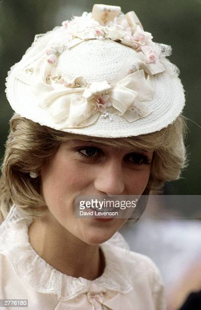 Diana Princess of Wales dressed up in Edwardian fashion for a Klondike evening barbeque on June 29 1983 at Ford Edmonton in Edmonton Canada during...