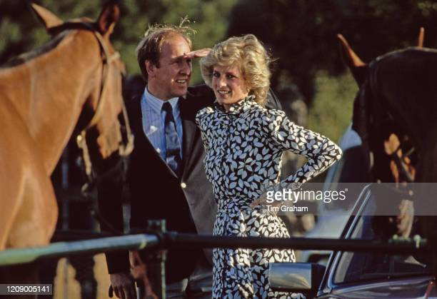 Diana, Princess of Wales during a polo match at Windsor, UK, July 1985.
