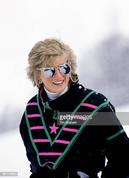 Diana Princess Of Wales During A Ski Holiday In Klosters Switzerland Wearing A Ski Suit By Kitex And Mirrored Sunglasses