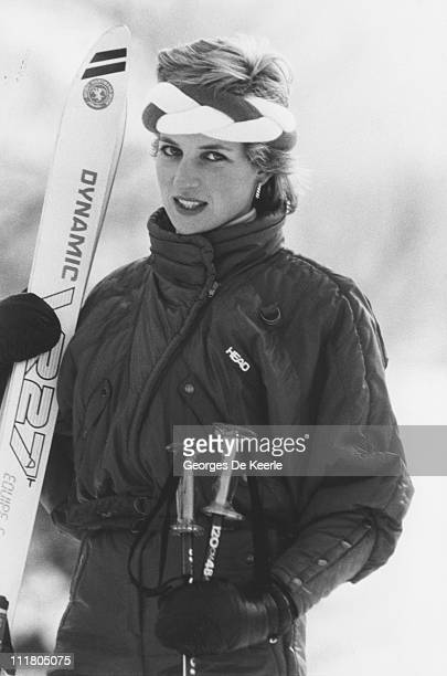 Diana Princess of Wales during a skiing holiday in Klosters Switzerland 6th February 1986
