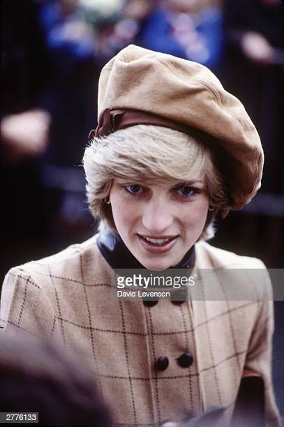 Diana Princess of Wales during a visit on November 25 1982 to Barmouth Wales Diana wore a dress designed by Arabella Pollen