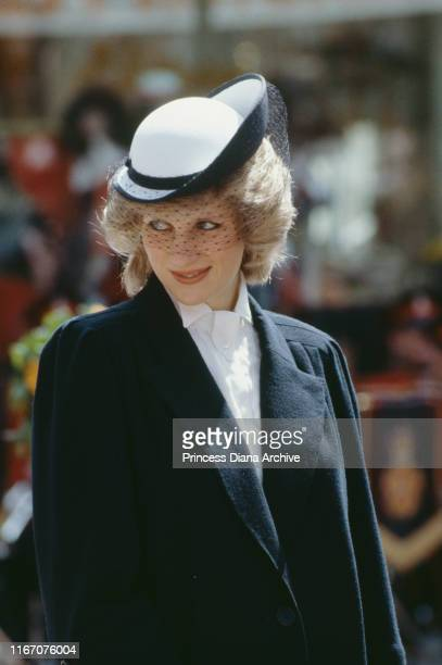 Diana, Princess of Wales during a visit to Chester and Warrington, UK, May 1984. She is wearing a Jan Van Velden coat and a hat by Frederick Fox.