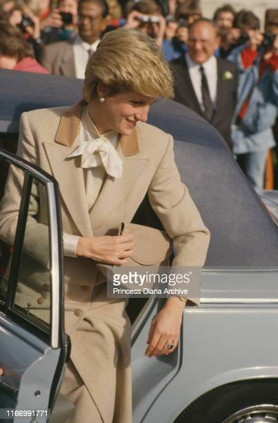 Diana, Princess of Wales during a visit to Giggleswick in North Yorkshire, UK, September 1986. She is wearing a new shorter haircut.