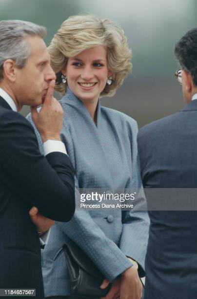 Diana, Princess of Wales during a visit to Milan, Italy, April 1985. She is wearing a Bruce Oldfield suit.