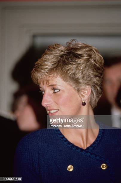 Diana, Princess of Wales during a visit to Peterborough, UK, January 1991. She is wearing a blue suit by Chanel.