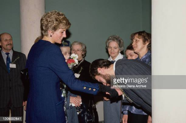 Diana Princess of Wales during a visit to Peterborough UK January 1991 She is wearing a blue suit by Chanel