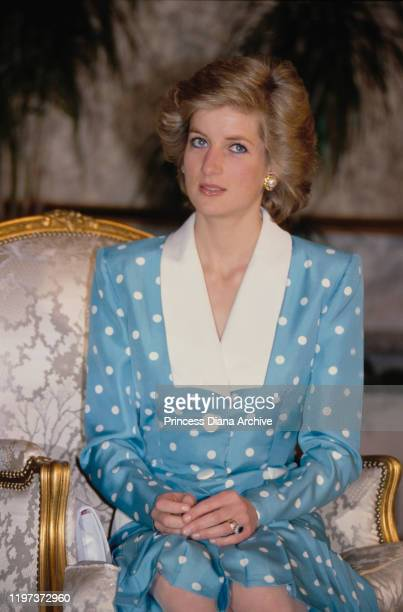 Diana, Princess of Wales during an audience with the Emir of Kuwait at Bayan Palace in Bayan, Kuwait, March 1989. She is wearing a blue and white...