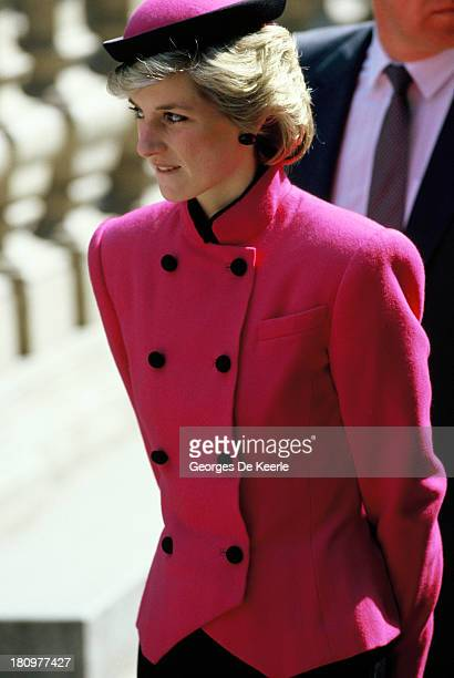 Diana Princess of Wales during her official visit to Austria on April 15 1986 The Princess wears a suit by Victor Edelstein and a hat by Frederick Fox