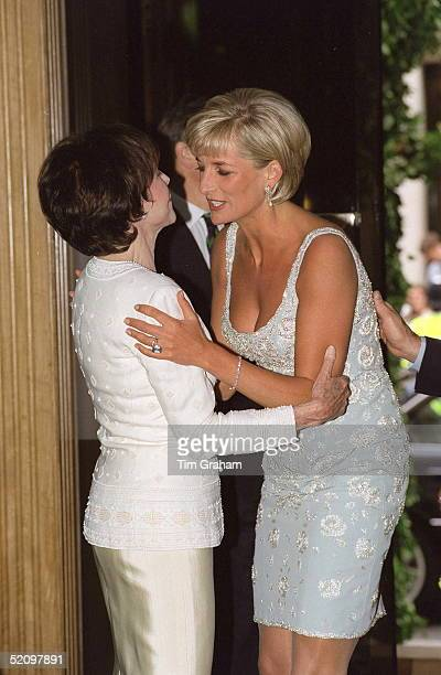 Diana Princess Of Wales Embracing Marguerite Littman Founder Of The Aids Crisis Trust At A Private Viewing And Reception At Christies In Aid Of The...
